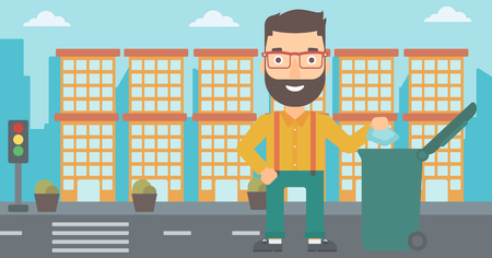 A hipster man with the beard throwing a trash into a green bin on a city background vector flat design illustration. Horizontal layout.