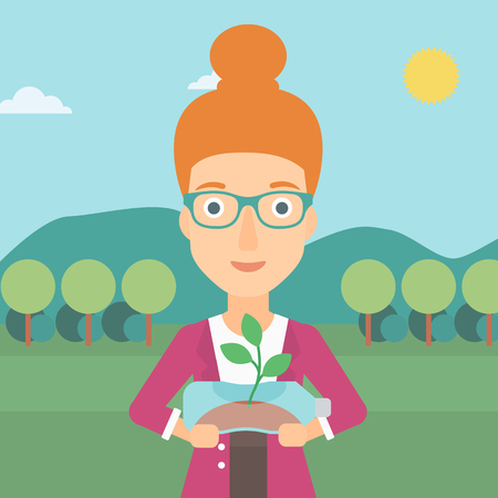 small plant: A woman standing on the background of mountain landscape and holding in hands a plastic bottle with a small plant growing inside vector flat design illustration. Square layout.
