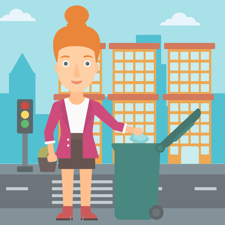 A woman throwing a trash into a green bin on a city background vector flat design illustration. Square layout.