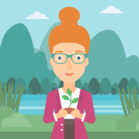 hands holding plant: A woman holding in hands a small plant in soil on the background of landscape with mountains and river vector flat design illustration. Square layout. Illustration