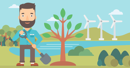 A hipster man with the shovel plants a tree on a background with wind turbins vector flat design illustration. Horizontal layout.