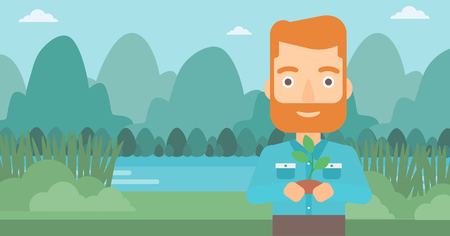 small plant: A hipster man with the beard holding in hands a small plant in soil on the background of landscape with mountains and river vector flat design illustration. Horizontal layout.