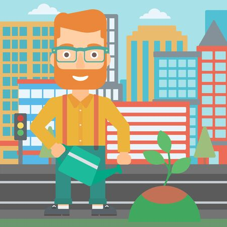 A hipster man with the beard watering a tree on a city background vector flat design illustration. Square layout. Illusztráció