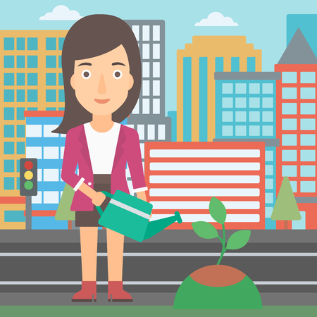 Young woman watering a tree on a city background vector flat design illustration. Square layout.