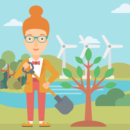 A woman with the shovel plants a tree on a background with wind turbins vector flat design illustration. Square layout.