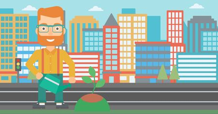 A hipster man with the beard watering a tree on a city background vector flat design illustration. Horizontal layout. Illustration