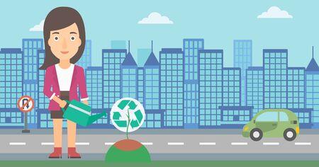 Une femme arroser un arbre avec un signe de recyclage au lieu de la couronne sur un backround vecteur de ville design plat illustration. Présentation horizontale.
