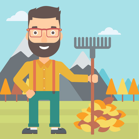 A hipster man with rake standing near heap of autumn leaves on the background of mountain landscape vector flat design illustration. Square layout. Ilustração