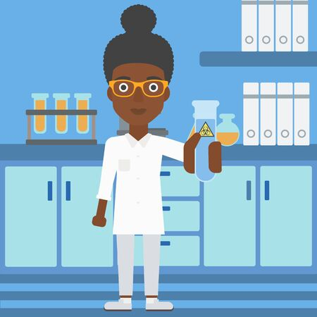 An african-american laboratory assistant holding a test tube with biohazard sign on a laboratory background vector flat design illustration.  Square layout. Ilustração
