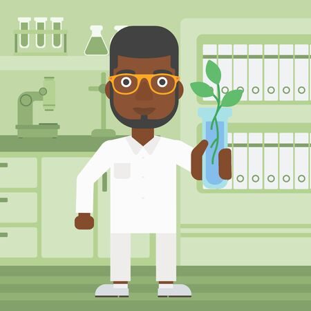 researcher: An african-american laboratory assistant holding a test tube with growing plant on a laboratory background vector flat design illustration. Square layout.