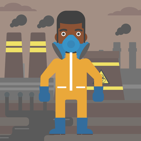 radiation suit: An african-american man wearing a protective chemical suit for toxic atmosphere on background of nuclear power plant vector flat design illustration. Square layout.
