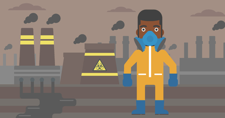 radiation suit: An african-american man wearing a protective chemical suit for toxic atmosphere on background of nuclear power plant vector flat design illustration. Horizontal layout.