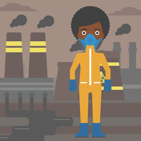 protective suit: An african-american woman wearing a protective chemical suit for toxic atmosphere on background of nuclear power plant vector flat design illustration. Square layout.