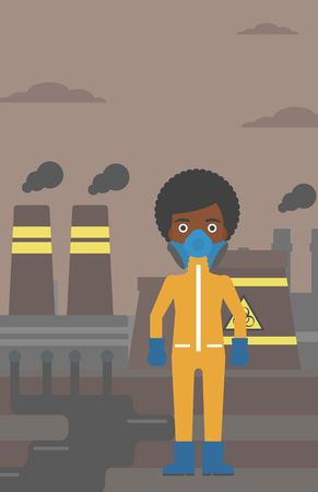 radiation suit: An african-american woman wearing a protective chemical suit for toxic atmosphere on background of nuclear power plant vector flat design illustration. Vertical layout.