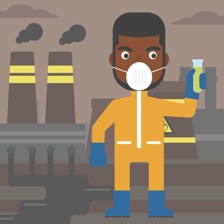 protective suit: An african-american man in protective chemical suit holding a test-tube in hand on background of nuclear power plant vector flat design illustration. Square layout.