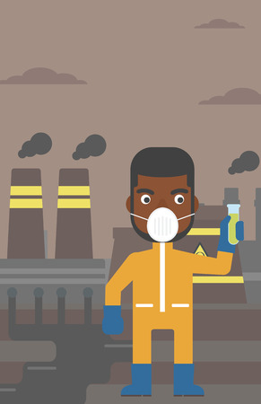 radiation suit: An african-american man in protective chemical suit holding a test-tube in hand on background of nuclear power plant vector flat design illustration. Vertical layout. Illustration