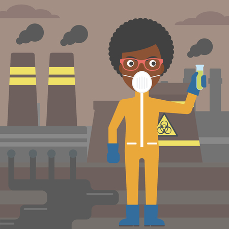 chemical hazard: An african-american laboratory assistant in protective chemical suit holding a test-tube in hand on background of nuclear power plant vector flat design illustration. Square layout. Illustration