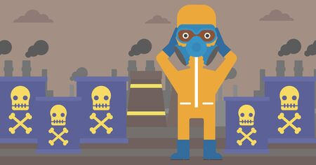 An african-american man in protective chemical suit clutching his head on the background of radioactive barrel vector flat design illustration. Horizpntal layout. Ilustração