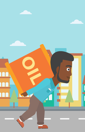 man carrying: An african-american man carrying an oil can on his back on a city background vector flat design illustration. Vertical layout.