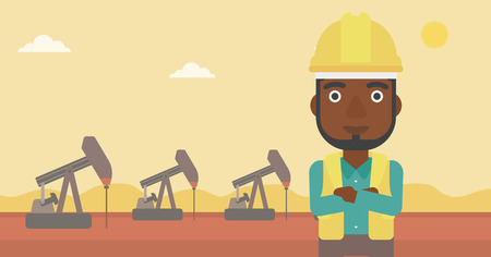 exhaustion: An african-american man in helmet standing with crossed arms on an oil derrick background vector flat design illustration. Horizontal layout. Illustration