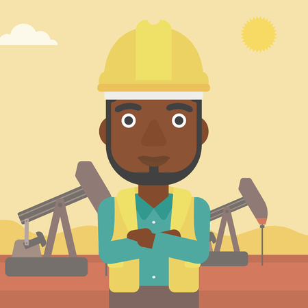 crossed arms: An african-american man in helmet standing with crossed arms on an oil derrick background vector flat design illustration. Square layout. Illustration
