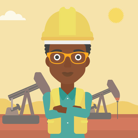 crossed arms: An african-american woman in helmet standing with crossed arms on an oil derrick background vector flat design illustration. Square layout. Illustration