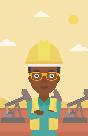 crossed arms: An african-american woman in helmet standing with crossed arms on an oil derrick background vector flat design illustration. Vertical layout.