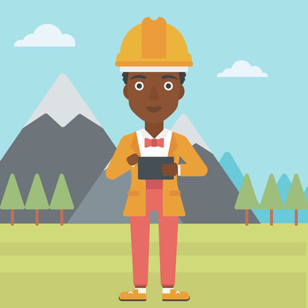 peak hat: An african-american woman in hardhat holding a tablet computer in hands on the background of mountain landscape vector flat design illustration. Square layout. Illustration