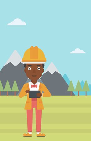 An african-american woman in hardhat holding a tablet computer in hands on the background of mountain landscape vector flat design illustration. Vertical layout. Illustration