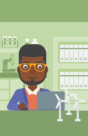 An african-american man sitting at the table with a laptop and wind turbine models vector flat design illustration. Vertical layout.