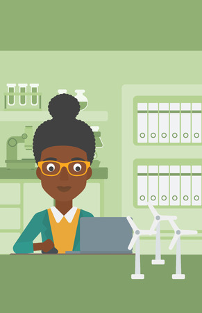 An african-american woman sitting at the table with a laptop and wind turbine models vector flat design illustration. Vertical layout. Illustration