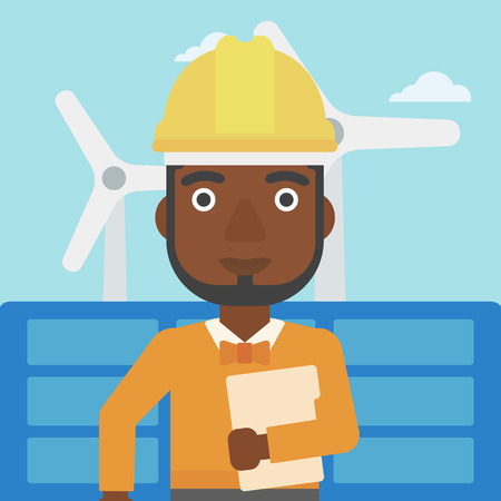 An african-american man standing with a tablet computer in hand on a background with solar pannels and wind turbins vector flat design illustration. Square layout.