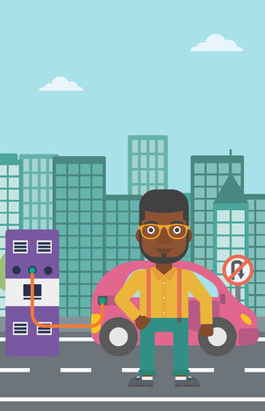plugging: An african-american man charging his electric car on a city background vector flat design illustration. Vertical layout.