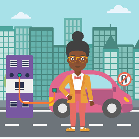 plugging: An african-american woman charging her electric car on a city background vector flat design illustration. Square layout.