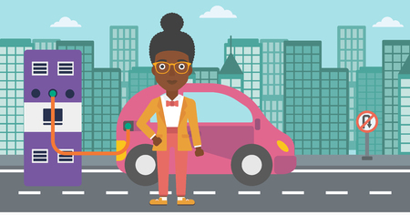 An african-american woman charging her electric car on a city background vector flat design illustration. Horizontal layout.