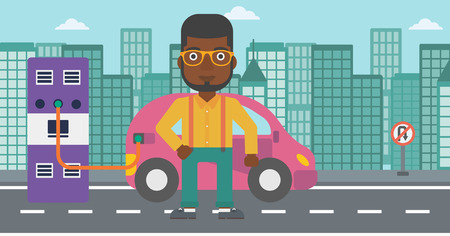 plugging: An african-american man charging his electric car on a city background vector flat design illustration. Horizontal layout. Illustration