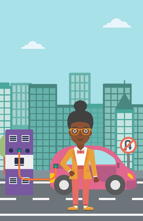 plugging: An african-american woman charging her electric car on a city background vector flat design illustration. Vertical layout.