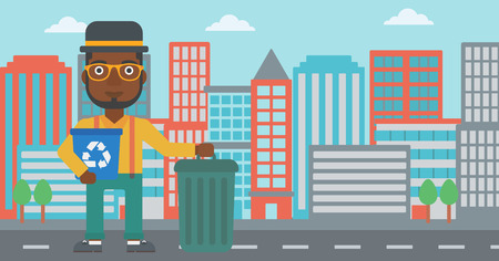 An african-american man standing with a recycle bin in hand and another bin on the ground on a city background vector flat design illustration. Horizontal layout.