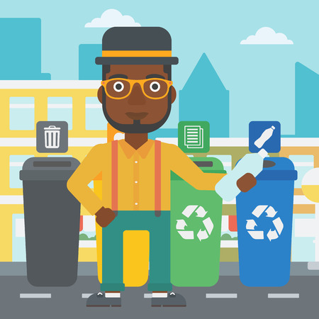 appropriate: An african-american man standing near four bins and throwing a plastic bottle in an appropriate bin on a city background vector flat design illustration. Square layout.