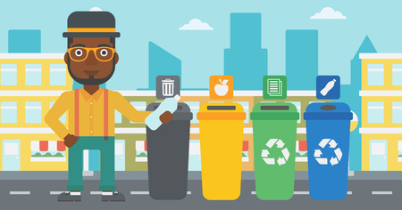 appropriate: An african-american man standing near four bins and throwing a plastic bottle in an appropriate bin on a city background vector flat design illustration. Horizontal layout.