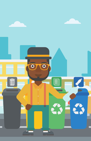 appropriate: An african-american man standing near four bins and throwing a plastic bottle in an appropriate bin on a city background vector flat design illustration. Vertical layout.
