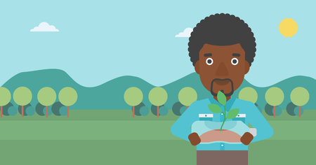 small plant: An african-american man standing on the background of mountain landscape and holding in hands a plastic bottle with a small plant growing inside vector flat design illustration. Horizontal layout. Illustration