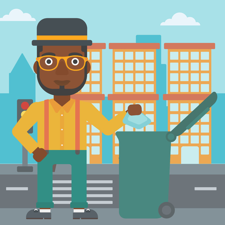 An african-american man throwing a trash into a green bin on a city background vector flat design illustration. Square layout.