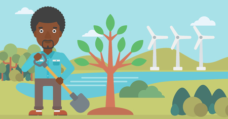 An african-american man with the shovel plants a tree on a background with wind turbins vector flat design illustration. Horizontal layout. Illustration