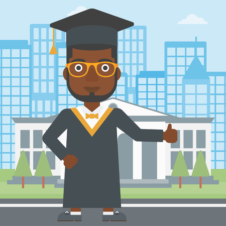 An african-american man in cloak and hat showing thumb up sign on the background of educational building vector flat design illustration. Square layout. Illustration