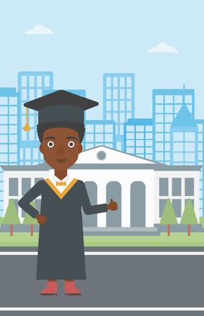 alumnus: An african-american woman in cloak and hat showing thumb up sign on the background of educational building vector flat design illustration. Vertical layout.