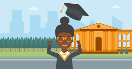 woman throwing: An african-american woman throwing up her hat on the background of educational building vector flat design illustration. Horizontal layout.
