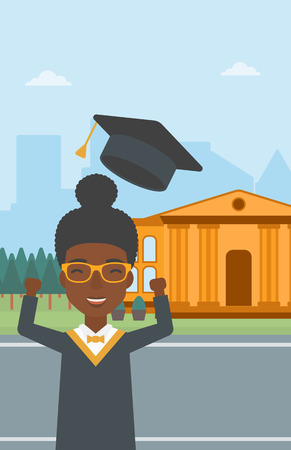 woman throwing: An african-american woman throwing up her hat on the background of educational building vector flat design illustration. Vertical layout.