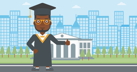 alumnus: An african-american man in cloak and hat showing thumb up sign on the background of educational building vector flat design illustration. Horizontal layout.