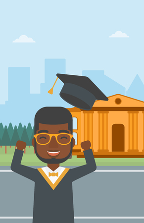 alumnus: An african-american man throwing up his hat on the background of educational building vector flat design illustration. Vertical layout. Illustration